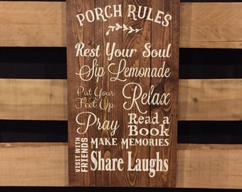 Porch Rules Sign, Wood Sign, Porch Sign, July Fourth, Rustic Home Decor, Porch Decor, Farmhouse Decor, Hand Painted Sign 22605