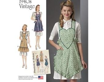 Simplicity Pattern 8232 1940s Vintage Aprons Sewing Pattern, New Uncut, Size S-L, DIY Apron