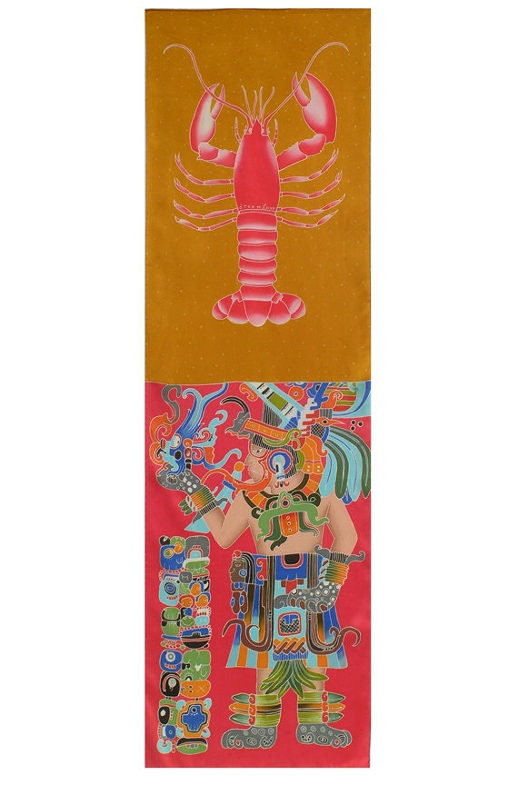 Mayan Warrior and Lobster dual image Hand painted long silk scarf