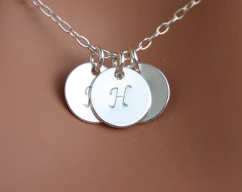 Family Three Initial Disks Necklace - Sterling silver/Gold Filled, Mom's necklace, Customized Letters, everyday wear,  Mother's Day gifts