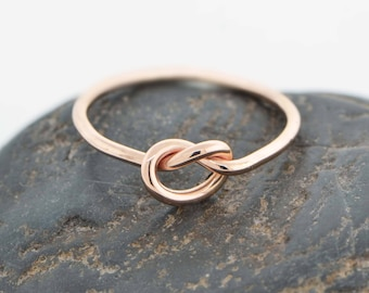 10K Rose Gold Ring, Love Knot Ring, Rose Gold Knot Ring, Love Knot Jewelry, Friendship Ring, Knotted Ring, Promise Ring, Gift For Her