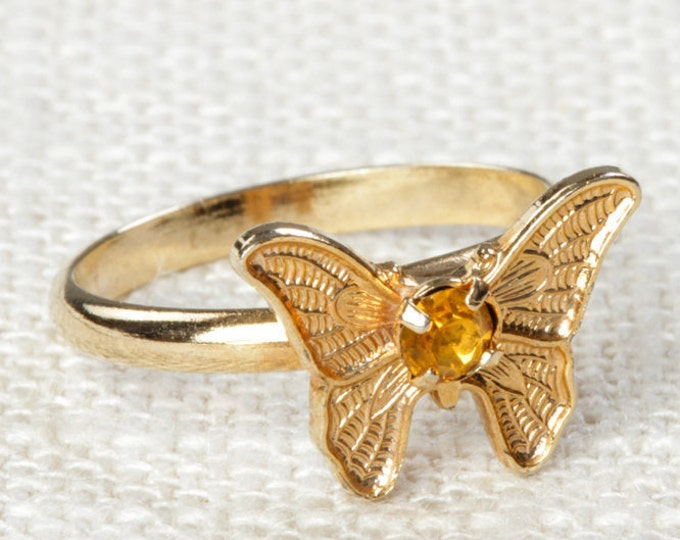 Vintage Butterfly Ring Yellow Rhinestone Small Adjustable XS or Child's Size Vintage Ring Gold Butterfly Adjustable 7RI