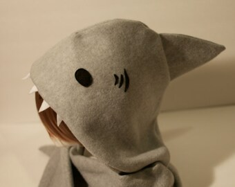Shark Hoodie Hat | Shark Hat| Handmade Shark Scoodie | Shark Scarf | Shark Costume | Fleece Scoodie