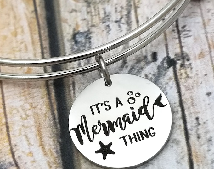 It's a Mermaid Thing Customizable Expandable Bangle Charm Bracelet, choose your charms, create your style, design your bracelet,