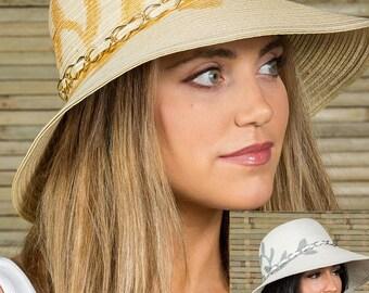Hatch Hats Women's Poly BraidPainted Sunhat Summer Travel Vacation Packable Wide Brim Gambler Safari Fedora Hat
