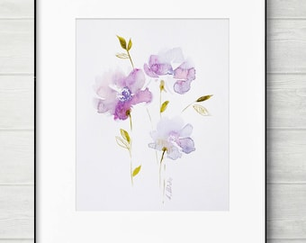 ORIGINAL watercolor, watercolor painting, lilac flower painting, abstract painting, pink watercolor art, lilac flower art, pink flower art