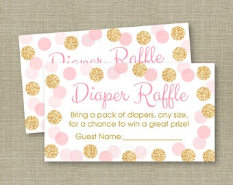 Glitter Diaper Raffle Tickets / Glitter Baby Shower / Blush Pink & Gold / Gold Glitter Dots / Baby Girl Shower / INSTANT DOWNLOAD A225