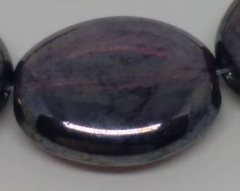 Deep Purple Czech Glass Ovals, 12mm