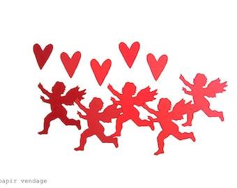 25 pcs. Cupidon & coeur coupes, décorations Saint-Valentin, décorations de Cupidon, Valentine Party Decor, Cupidon et coeurs