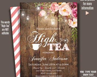 High Tea Invitation, Wedding shower templates, Flowers and wood invitations, Instant Download Self Editable PDF A231