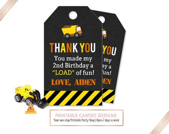 Dump Truck favor tags, Construction gift tags, Dump Truck, Personalized Favor Tags, Thank you tags, Printable