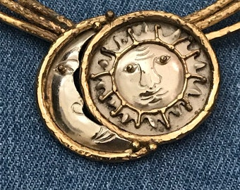 Handcrafted Sun Moon Astrology Zodiac Collar  Bib Pendant Medallion Necklace