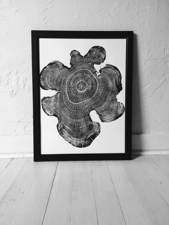 Ohio Locust Tree, Woodcut print, Tree ring print, Handmade print, Tree stamp, Tree ring art, Nature inspired art, Woodblock Print, Linton