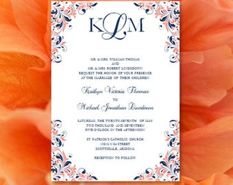 Coral navy wedding etsy for Royal blue and coral wedding invitations