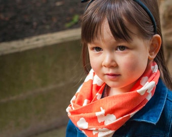 ORGANIC Baby & Toddler Infinity Scarf, Snaps On and Off (Coral Poppies, 2 Sizes) SC029