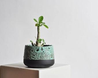 Pot de 5 pouces - noir et vert d'eau, mat - réalisé sur commande