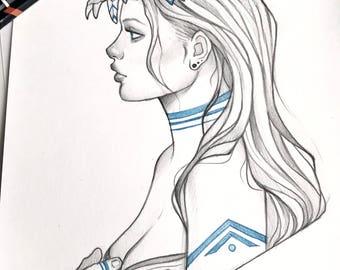 Spirit original pencil art  concept sketch original acrylic art A4 (20x30 cm)
