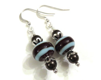 Blue & Brown Striped Lampwork Earrings With Brown Swarovski Pearls, Lampwork Jewelry, Glass Earrings, Pearl Earrings, Brown Earrings