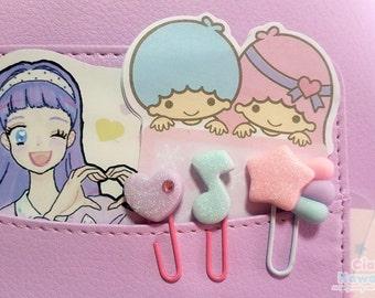 Clip di carta pastello kawaii, cuore, stella cometa, nota musicale