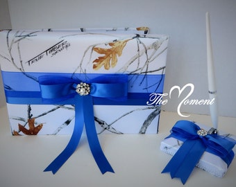 White Camo Guest Book and Pen Set, White Camo with Royal Blue guestbook, True Timber White Snowfall Wedding Guest Book, customize guestbook