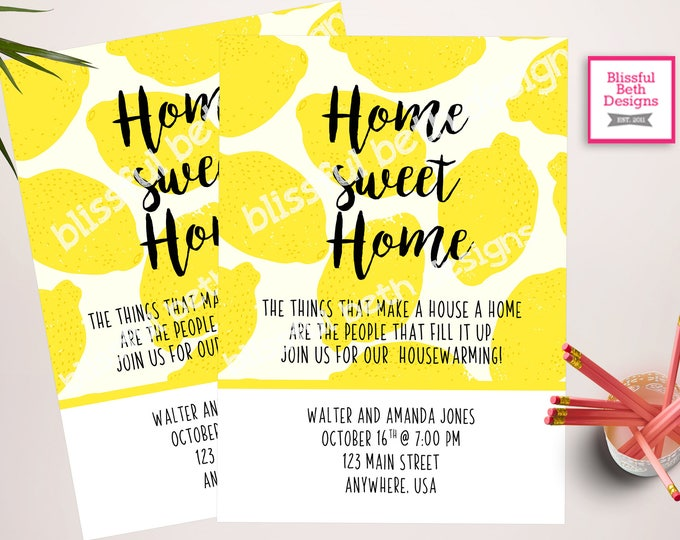 LEMON HOUSEWARMING INVITATION, Housewarming Invitation, Lemon, House Warming, Housewarming, Home Sweet Home, New Home