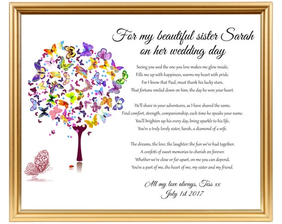 Gifts For Sisters Wedding: Sister Wedding Gift Wedding Gift Poem For Sister Gifts For