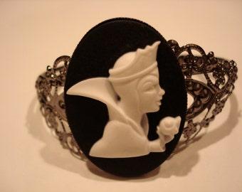 Cameo Cuff Bracelet Victorian The Evil Queen Snow White Disney Villain Apple Black Finish