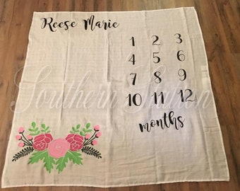 Customizable Muslin Milestone Blanket