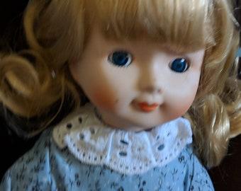 Sweet Girl Vintage Porcelain Doll