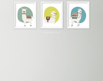 Llama print set - Set of 3 printables - Alpaca art prints - children room art - Printable alpaca - Llama wall art - Cute art prints