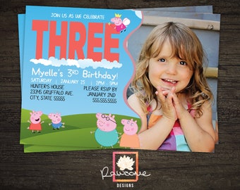 Peppa Pig Birthday Invitation - Colors can be Customized!