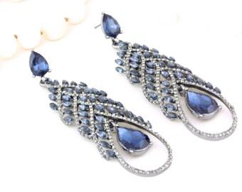 Bridal Crystal Blue Chandelier Earrings, Statement Dangle Earrings, Bridal Bridesmaids Wedding Gift Jewelry, Evening Earrings, Big Earrings