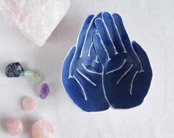 OFFERING bowl life size matt blue glaze