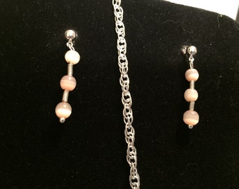 Moonstone and silver earrings.