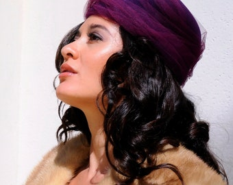 Gorgeous Firenze Designer Purple Vintage Pill Box Hat