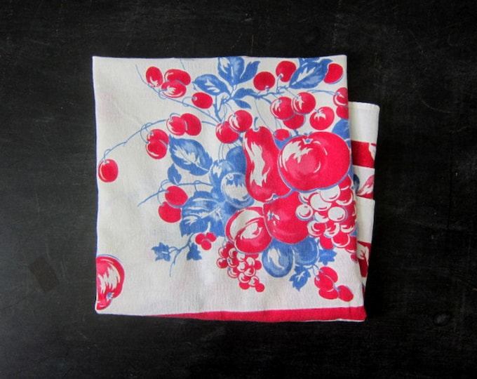 Blue Red & White Tablecloth Cherry print tablecloth Mid Century Fruit Pattern Cotton Tablecloth Kitchen Decor 1950's Dining Fabric GS