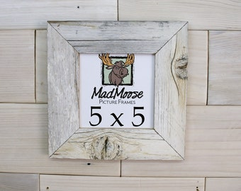 "5x5  Ghost Gray [Thin x 2""] Picture Frame . . . . (barn wood frame barnwood frame weathered wood frame white wood frame 5 x 5)"