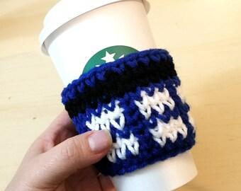 Dr. Who inspired Tardis crochet coffee sleeve
