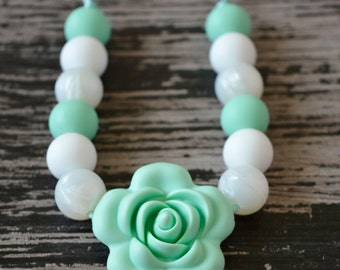 Silicone Flower Teething Necklace, Pearl Silicone Teething Beads, Toddler Sensory Necklace, Silicone Flower, White Pearl, Mint and White