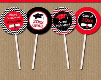EDITABLE Graduation Cupcake Toppers, Graduation Cupcake Picks INSTANT DOWNLOAD, Printable Red Black Chevron Cupcake Decor, Class of 2018 G3