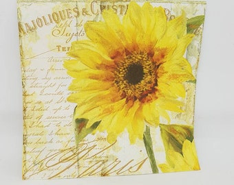 20 x Tournesol decorative luncheon napkins for decoupage- 33cm - sunflowers - yellow - floral -