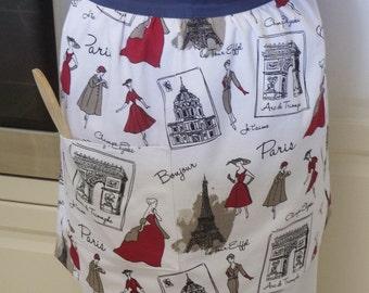 SALE !! Free Shipping !! French Retro Half Apron Paris, Paris 50s fashion print apron, womens lined cotton kitchen hostess apron with pocket