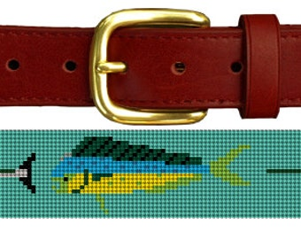 Tropical Gamefish Needlepoint Belt Canvas