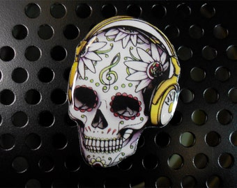 Day of the dead, skull brooch, skull music lover, skull, pin skull, jewelry skull, clay skull, clay pin, present gift