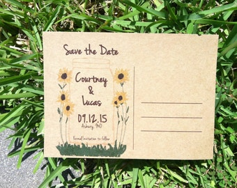Rustic Save the dates,  Sunflower save the dates, Save the date postcards, Mason Jar Save the dates, sunflowers save the dates -