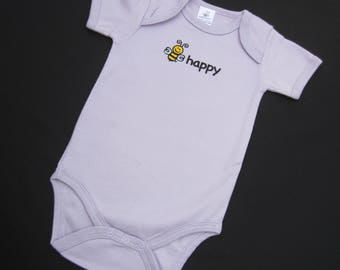 BEE HAPPY Embroidered Organic Cotton One Piece | Short Sleeve | Super Soft | Baby Girl | Color Soft Lilac | 6-12M and 12-18M