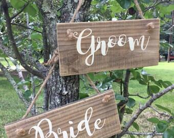 Bride Groom rustic wood signs