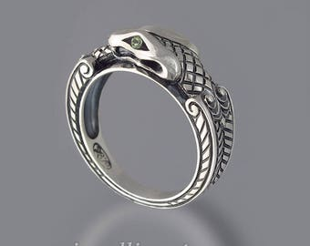 OUROBOROS silver mens Snake ring with Peridot eyes