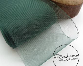 15cm (6 inch) Wide Crinoline (Crin, Horsehair Braid) for Hats, Millinery, and Fascinators - Bottle Green