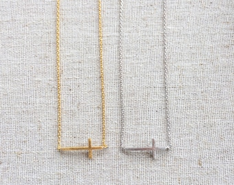 Delicate sideways cross necklace